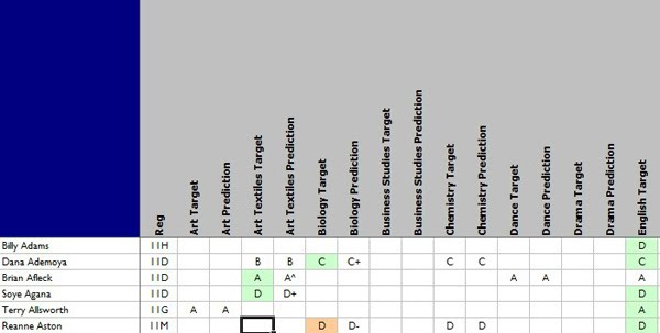 Spreadsheet showing student data